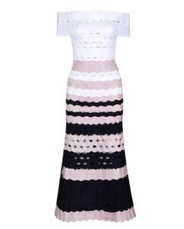Sexy Slash Neck Striped Vestido Evening Party Dress