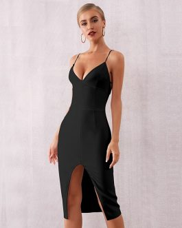 Sexy Spaghetti Strap Deep V Celebrity Evening Party Dress