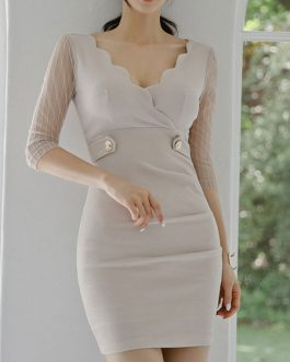 Sexy V Neck Zipper Bodycon Dresses