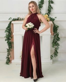 Side Split Halter Chiffon Floor Length Prom Gowns