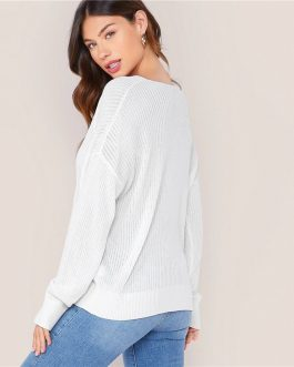 Solid V Neck Drop Shoulder Knit Sweater