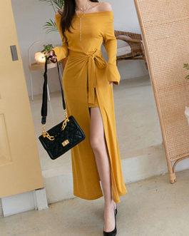 Split Front Asymmetrical Cotton Long Dress