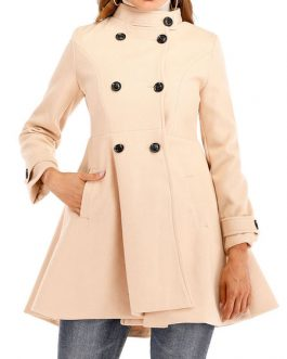Stand Collar Pockets Retro Wrap Coat