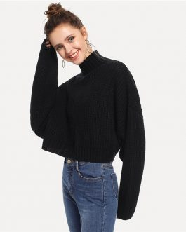 Streetwear Long Sleeve Casual Crop Boxy Ladies Sweaters