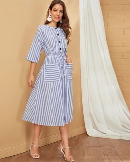 Striped Double Pocket Single Button Front Casual Flared Midi Dress