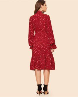 Tie Neck Allover Heart Print Ruffle Hem Midi Dress