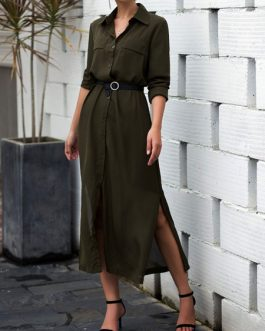 Turndown Collar Buttons Long Sleeves Shirt Dresses
