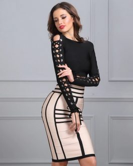Two pieces metal hollow out rope cross sexy party dress