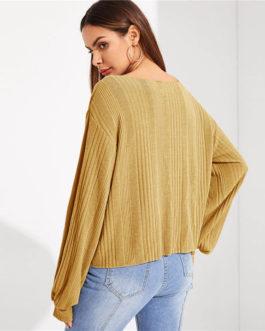 V Neck Rib-knit Stretchy Casual Tshirt