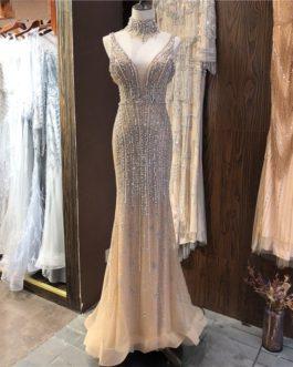 V-Neck Sleeveless Pearls Diamond Sexy Prom Dress
