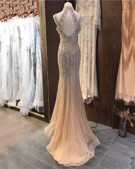 V-Neck Sleeveless Pearls Diamond Sexy Prom Dress