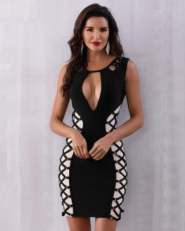 Elegant Bodycon V Sleeveless Mini Club Dress