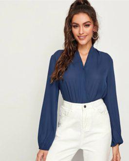 V-neck Lantern Sleeve Office Lady Wrap Top Blouse