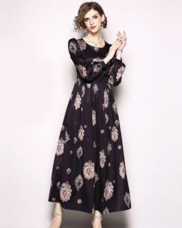 Vestidos O-Neck Vintage Party Maxi Dresses