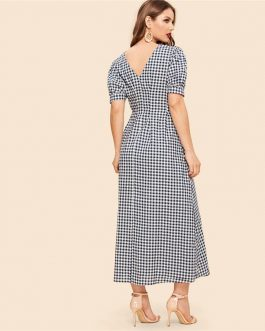 Vintage Double V Neck Button Down Gingham Puff Sleeve Midi Dress