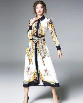 Vintage Turn-down Collar Ankle-Length Streetwear long dress