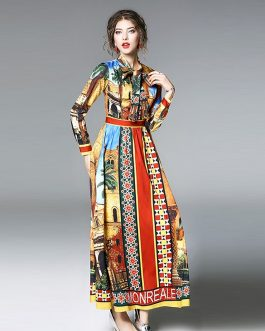 Vintage Stand A-Line Ankle-Length Printd Bow Long Dress