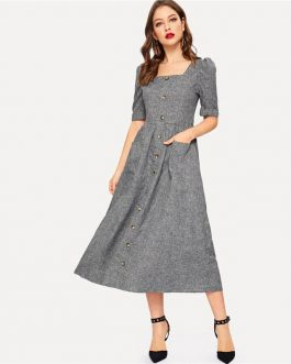 Vintage Puff Sleeve Button Up Front Fit And Flare Maxi Dress