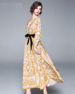 Vintage Plus Size Elegant Floral Maxi Dress