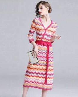 Vintage Elegant knitting Rainbow Striped Sweater dress