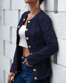 Casual Jewel Neck Buttons Street Wear Jacket