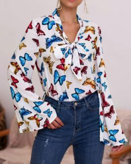 Embellished Collar Retro Floral Print Bows Long Sleeves Tops