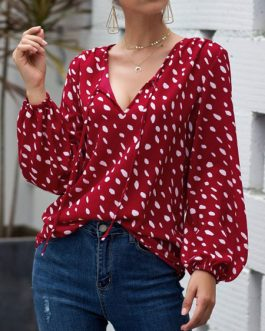 Embellished Collar Knotted Retro Polka Dot Long Sleeves Tops