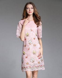 Elegance Lace Print Embroidery Dress