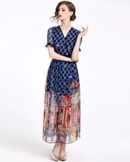 Vintage Printed Long Boho Dress