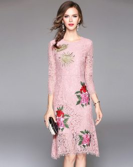 High Quality Elegant Embroidery Lace Print Dress