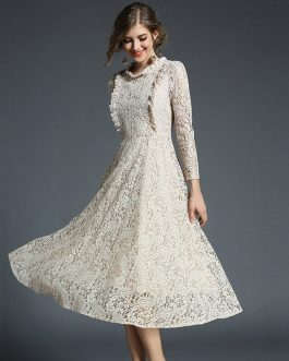 A-Line Lace Office Lady Party Dress