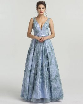 Beaded Lace Formal Evening Prom Party Gown