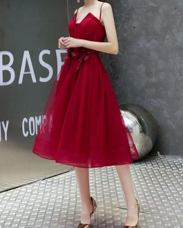 Beautiful A Line Knee Length Square Neck Flowers Social Cocktail Party Dresses