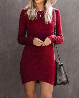 Bodycon Long Sleeve Polyester Midi Dress