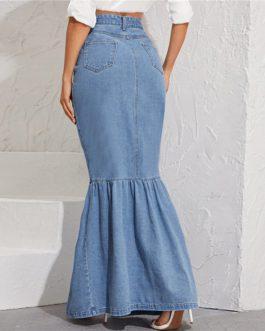 Button Front Pocket High Waist Fishtail Hem Denim Maxi Skirt