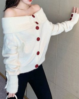 Buttons Off The Shoulder Long Sleeves Convertible Sweaters