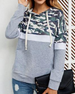 Camo Hoodie Long Sleeves Hooded Sweatshirt