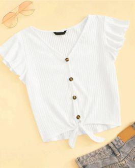 Cap Sleeve Button V Neck Sloid T-shirt
