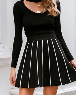 Casual Streetwear Chic A-Line Pleated Striped Mini Skirt