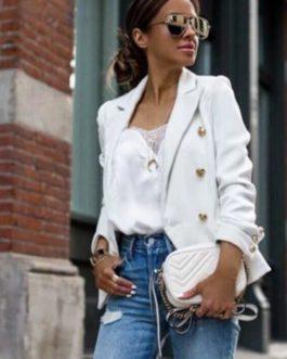 Steet Wear Elegant buttons Casual Long Sleeve Office Ladies Blazer