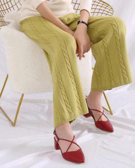 Casual Streetwear Geometric Knitted Mid Waist Trouser