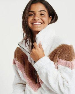 Teddy Bear Casual Fur Geometric Patchwork Raglan Sleeve Pullover Coat