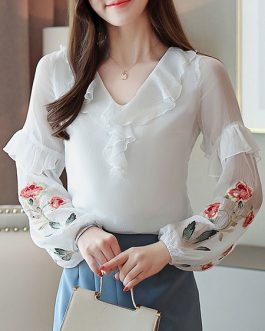 Casual Printed Embroidered Ruffles Layered Tops