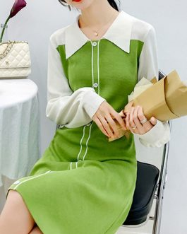 Charming Buttons Two Tone Long Sleeves Peter Pan Collar Knitted Dress