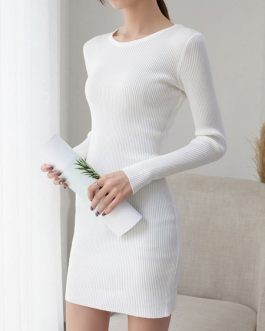Charming Jewel Neck Long Sleeves Knitted Dress