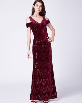 Cold Shoulder Floor Length Formal Evening Gowns