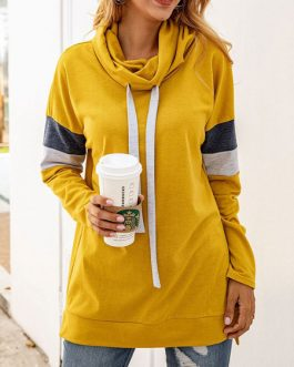Color Block Drawstring Pullover Sweatshirt