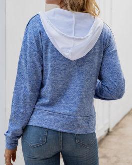 Color Block Hoodie Long Sleeves Hooded Sweatshirt With Pockets