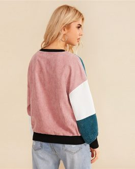 Color block Cut And Sew Casual Corduroy  Sweatshirt