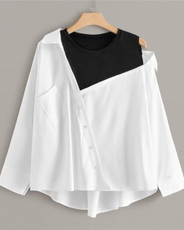 Contrast Panel Pocket Colorblock O-Neck Casual Top Blouses